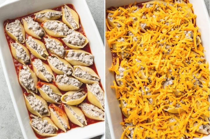collage of ground beef stuffed shells (uncooked in the baking dish with and without cheese)
