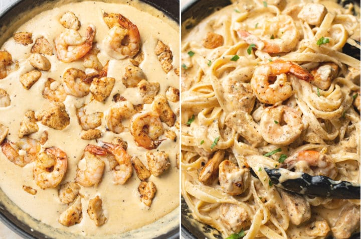collage with chicken and shrimp being added to the Alfredo sauce and a close-up of the sauce tossed with the pasta