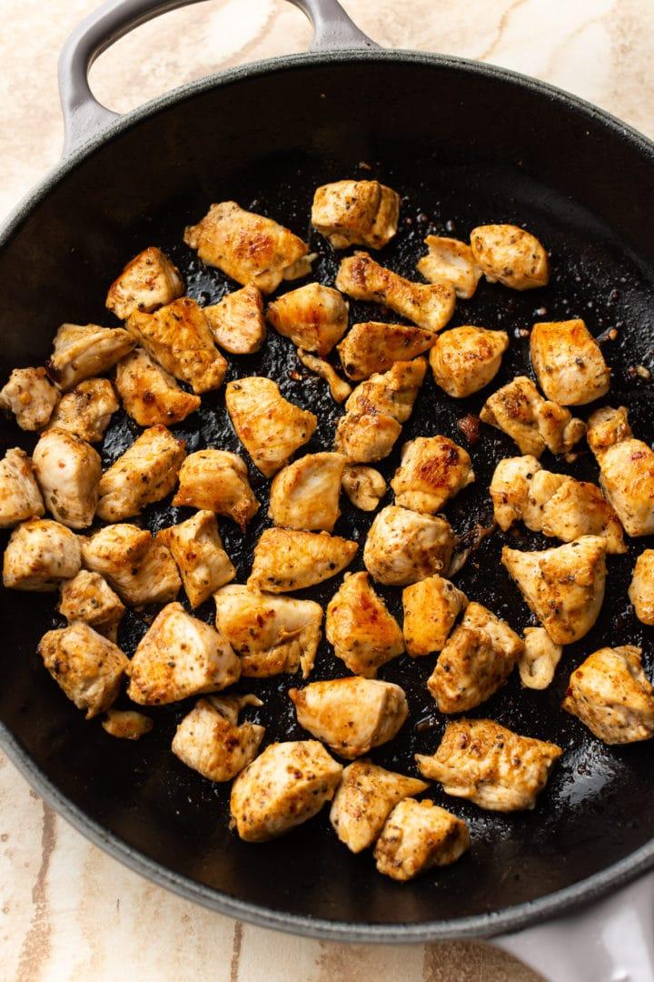 pan-fried Cajun chicken in a skillet