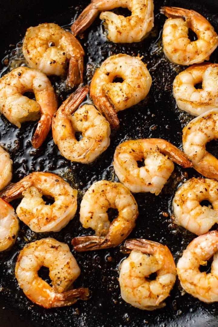 pan-fried Cajun shrimp in a skillet