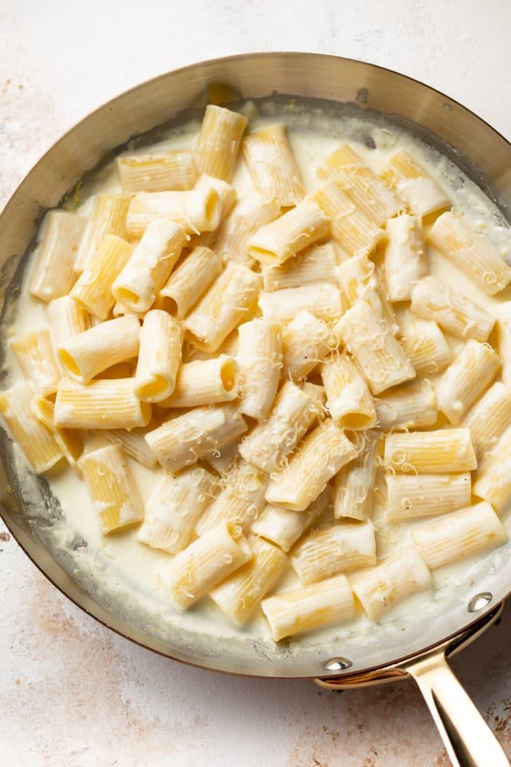 creamy lemon pasta in skillet