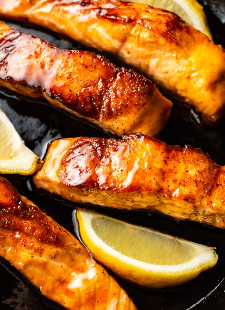 close-up of soy sauce and honey glazed salmon