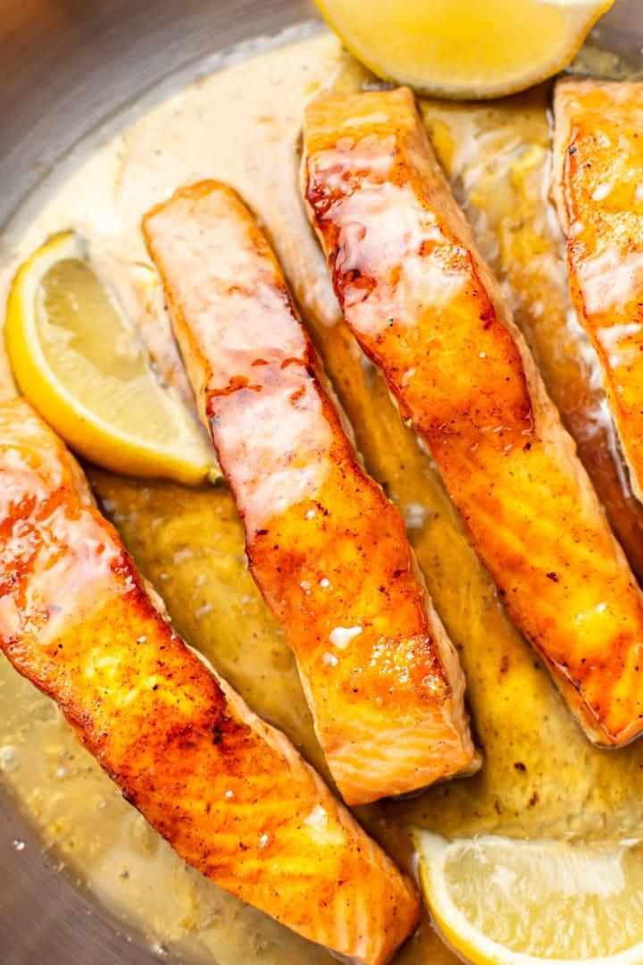 close-up overhead shot of honey lemon pan seared salmon