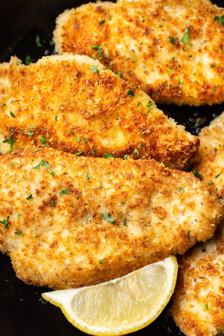 close-up of parmesan crusted chicken