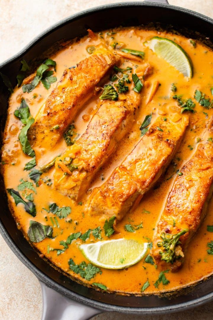salmon coconut curry in a skillet