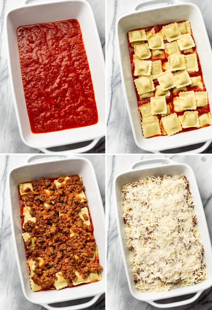 baked ravioli layering in baking dish process collage
