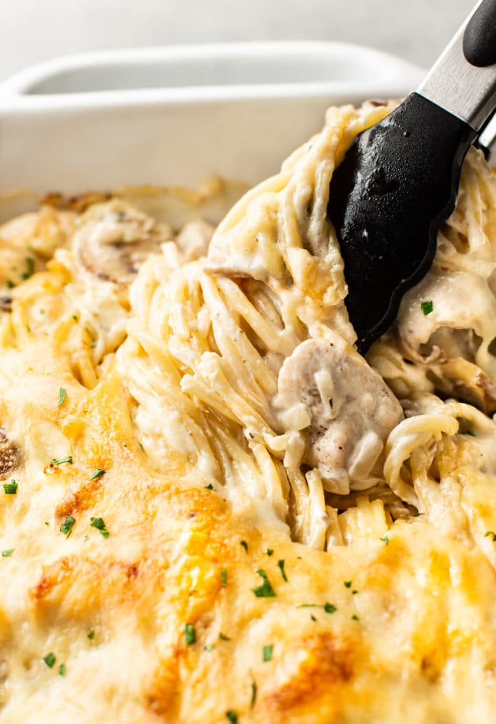 close-up of cheesy Chicken Tetrazzini in baking dish with tongs twirling the spaghetti