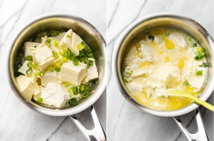 cream cheese mashed potatoes collage (saucepan with butter, cream cheese, etc. before and after it's been on the stove for a while)