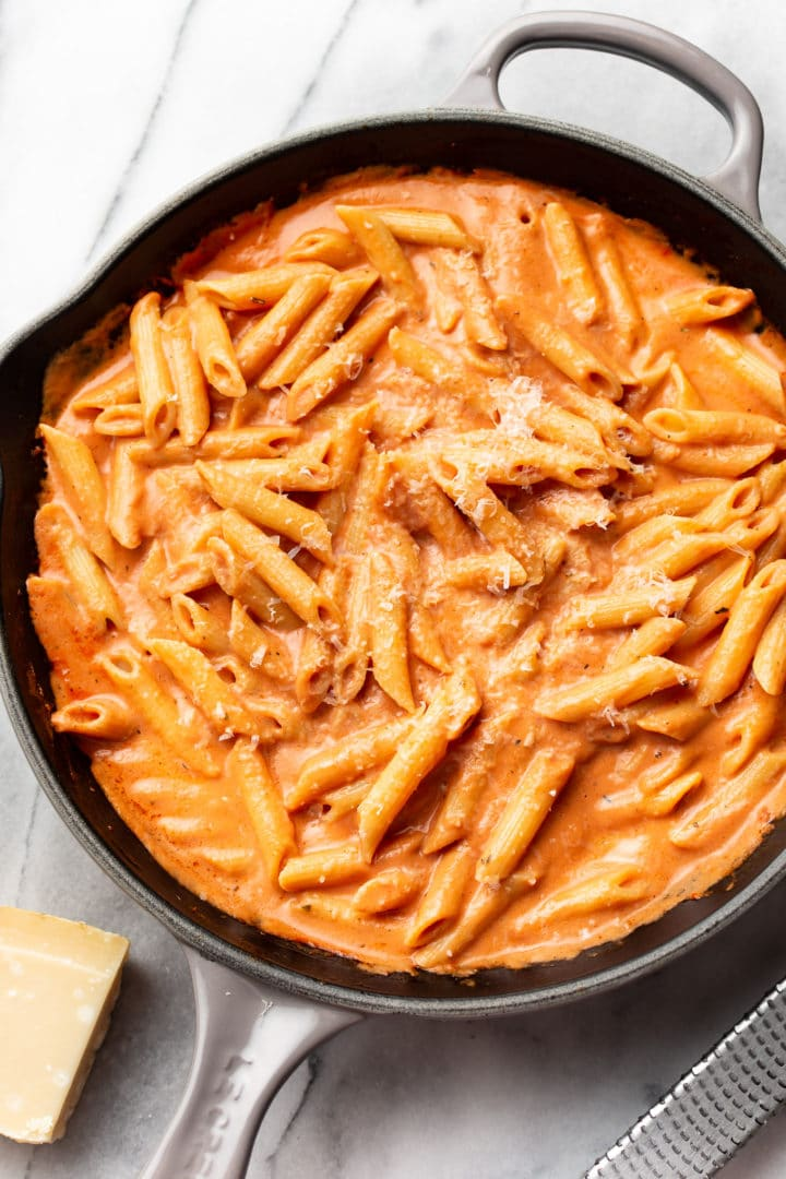 creamy tomato pasta in a skillet (tossed with penne)