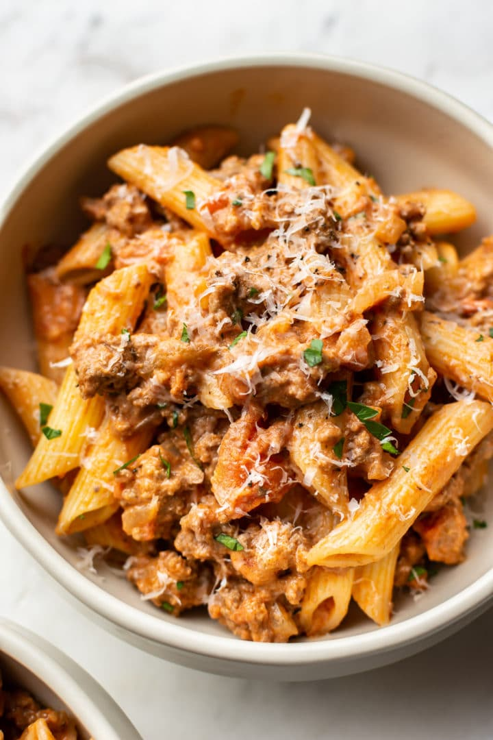 ground beef pasta in a bowl