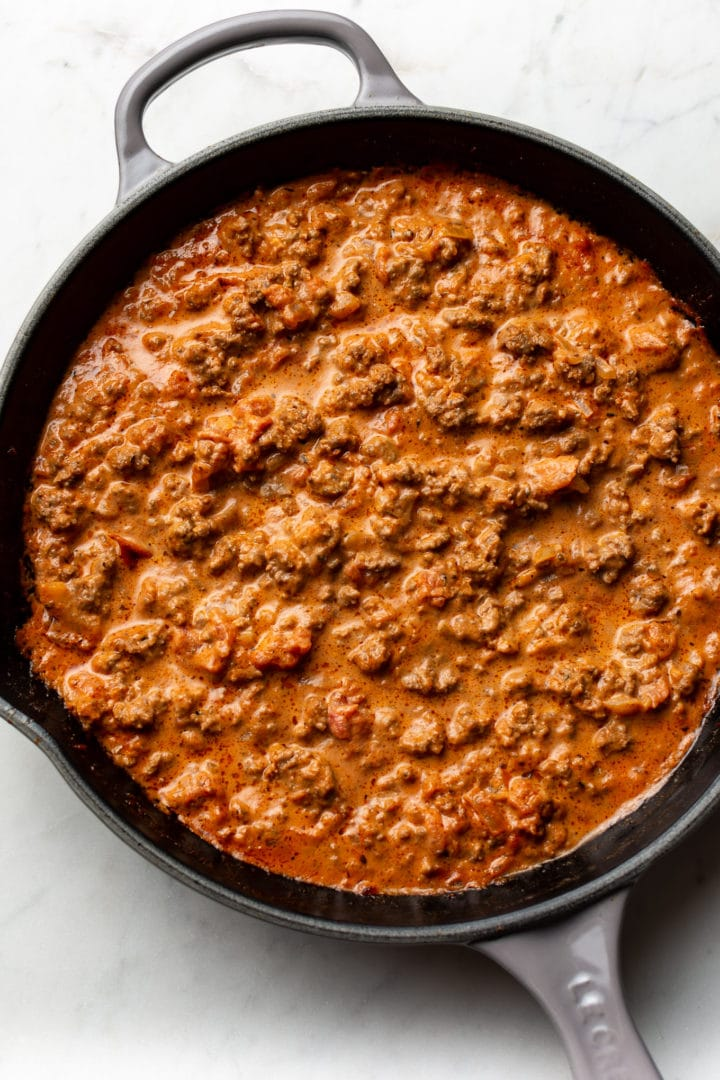 ground beef pasta sauce in a skillet
