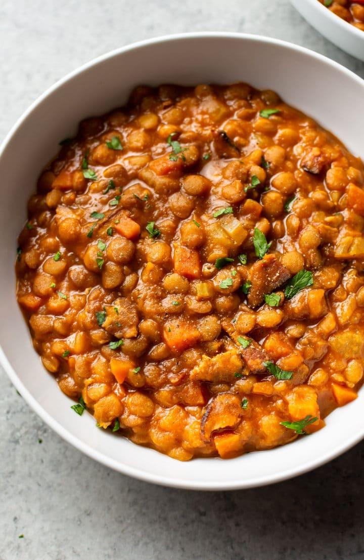 Instant Pot lentil stew (close-up)
