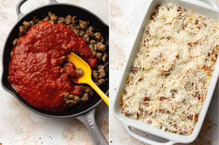sausage penne pasta bake collage (sausage and marinara sauce in a skillet and the assembled casserole before being baked)