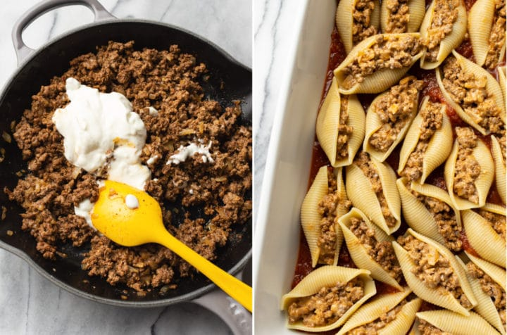 taco stuffed shells collage (sour cream being stirred into the ground beef mixture and the shells stuffed with the mixture before being baked)