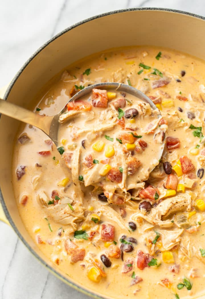 close-up of a ladle full of chicken taco soup (in a pot)