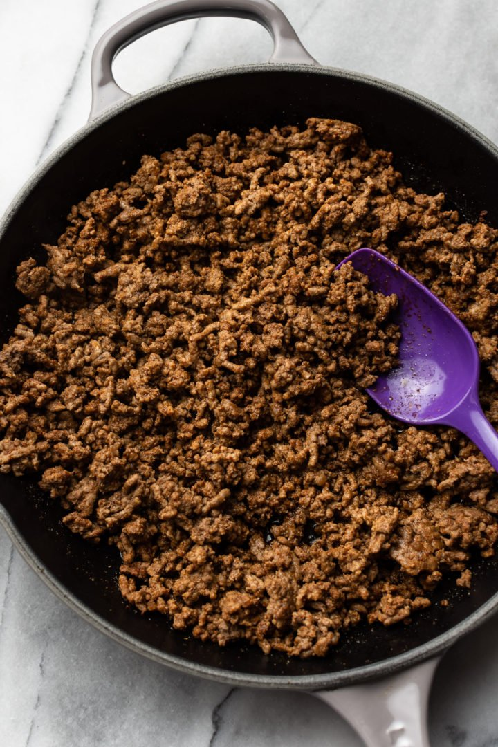 skillet with ground beef taco meat