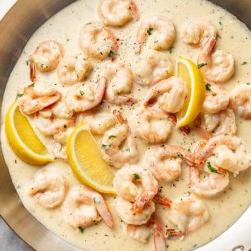 creamy shrimp (lemon garlic parmesan sauce) in a skillet