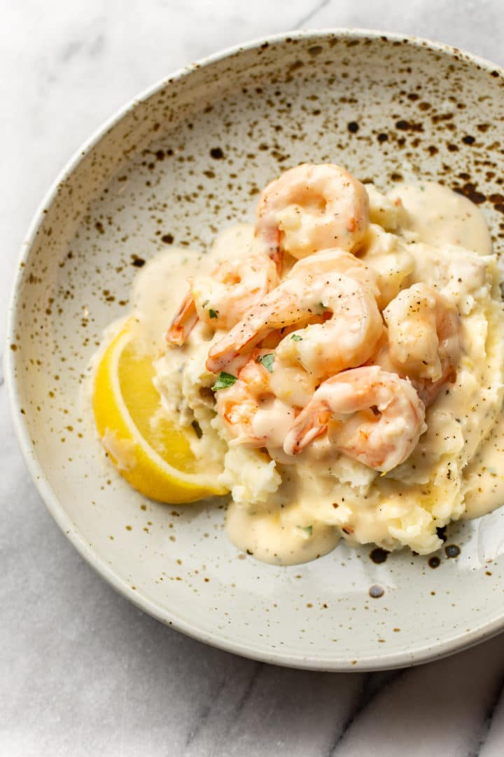 creamy garlic shrimp on a bed of mashed potatoes
