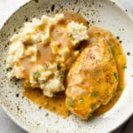 ranch chicken with mashed potatoes in a shallow bowl