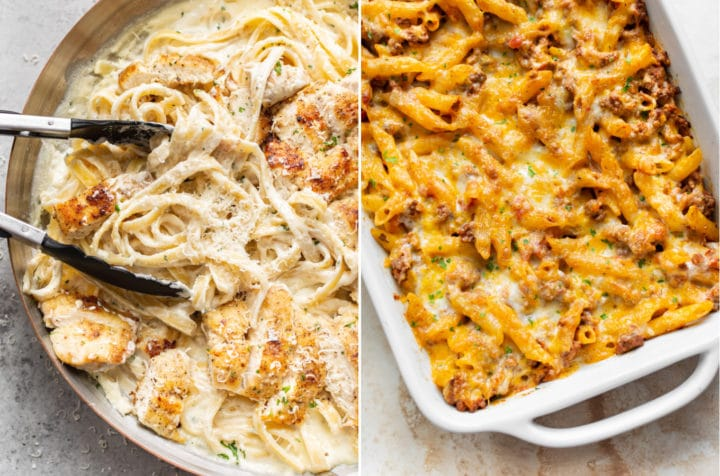 collage with chicken fettuccine alfredo and ground beef casserole