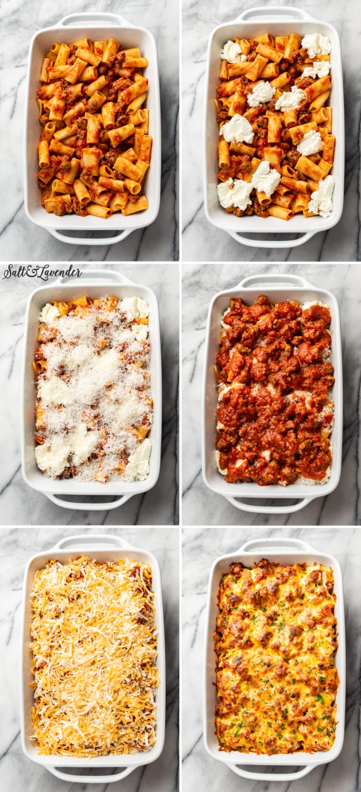 collage of baked rigatoni with sausage process photos