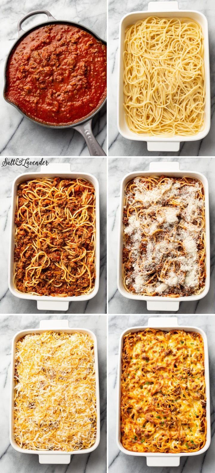 process collage of easy baked spaghetti recipe