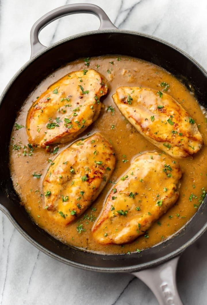 chicken and gravy in a skillet