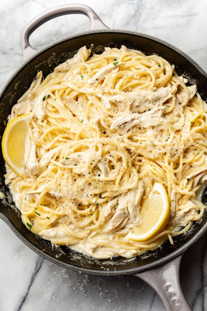 lemon chicken pasta in a skillet