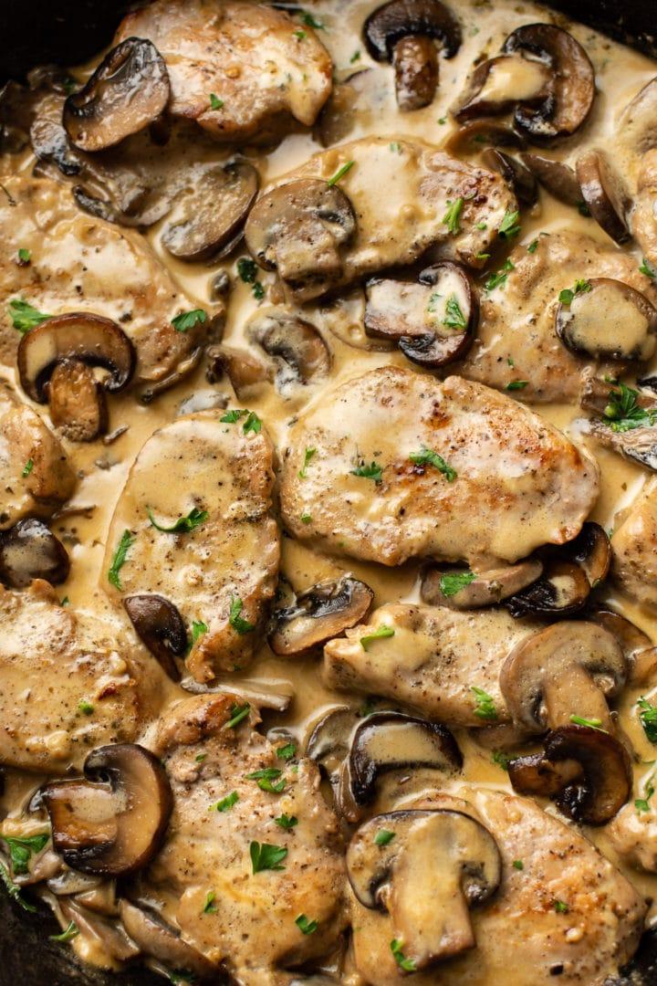 close-up of creamy mushroom pork tenderloin