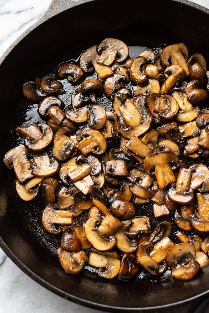 seared mushrooms in a skillet