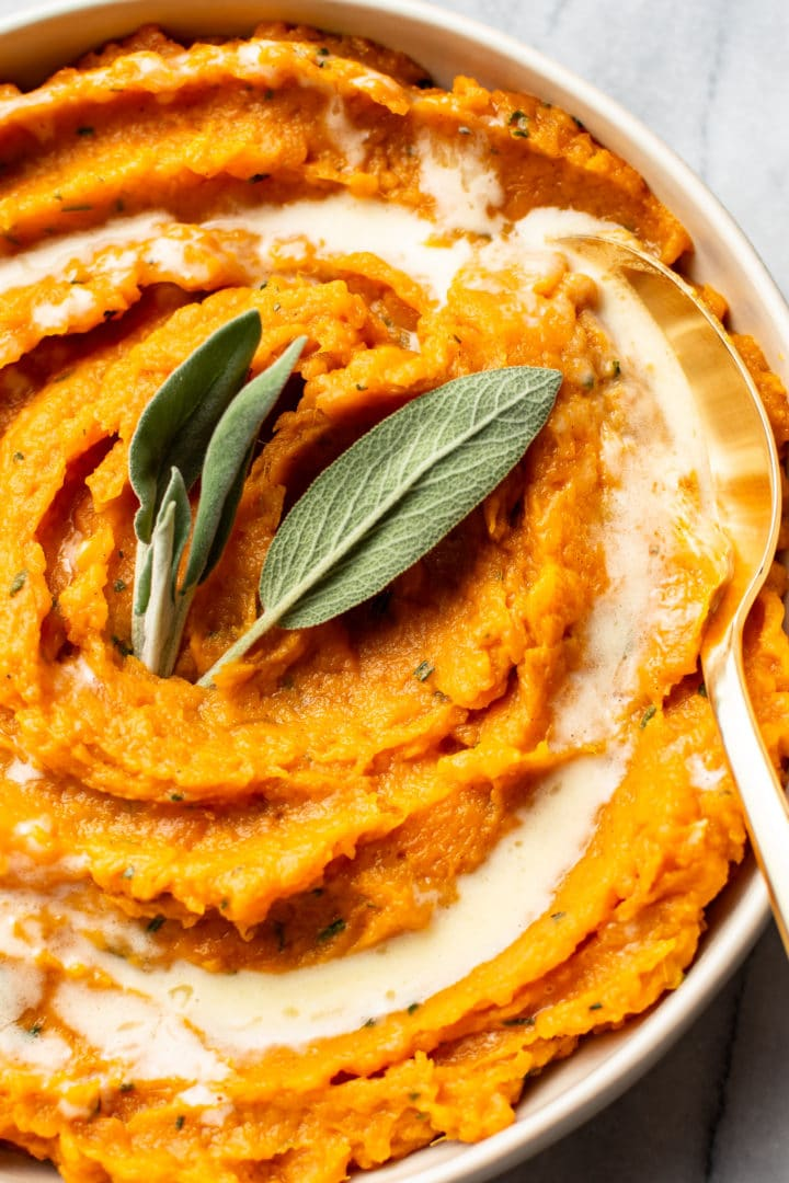 close-up of the best mashed sweet potatoes