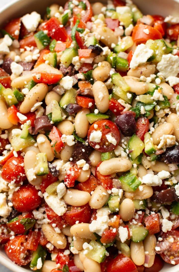 close-up of mediterranean white bean salad