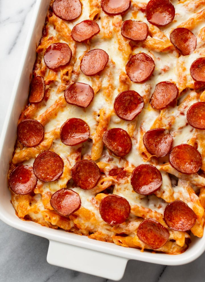 pizza pasta bake in a casserole dish