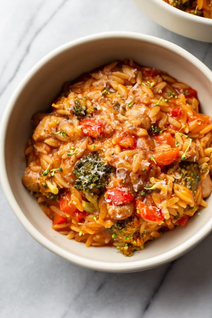 tomato orzo in a bowl