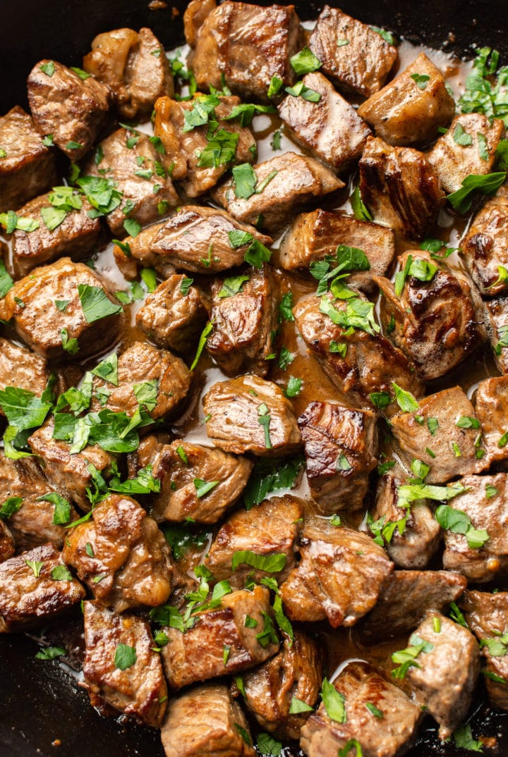close-up of garlic butter steak bites