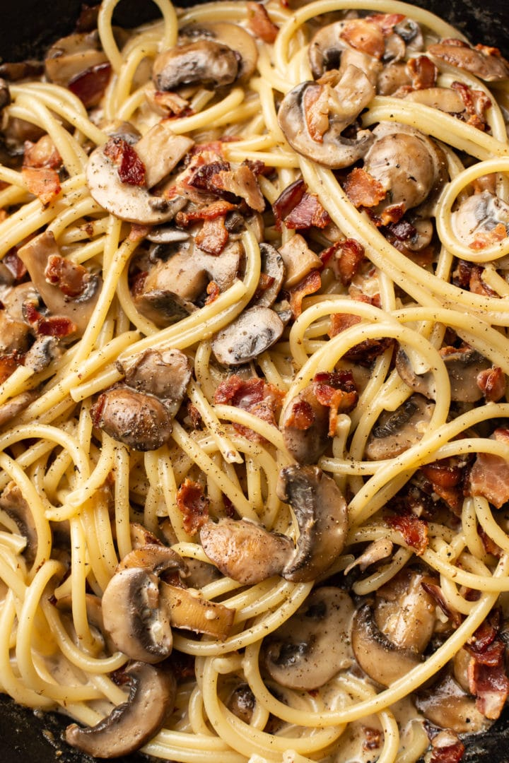 close-up of bacon mushroom pasta