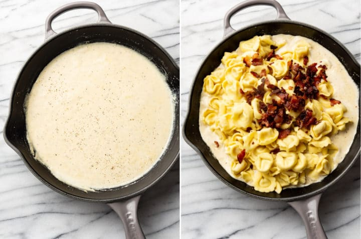 creamy bacon ranch tortellini process photo collage