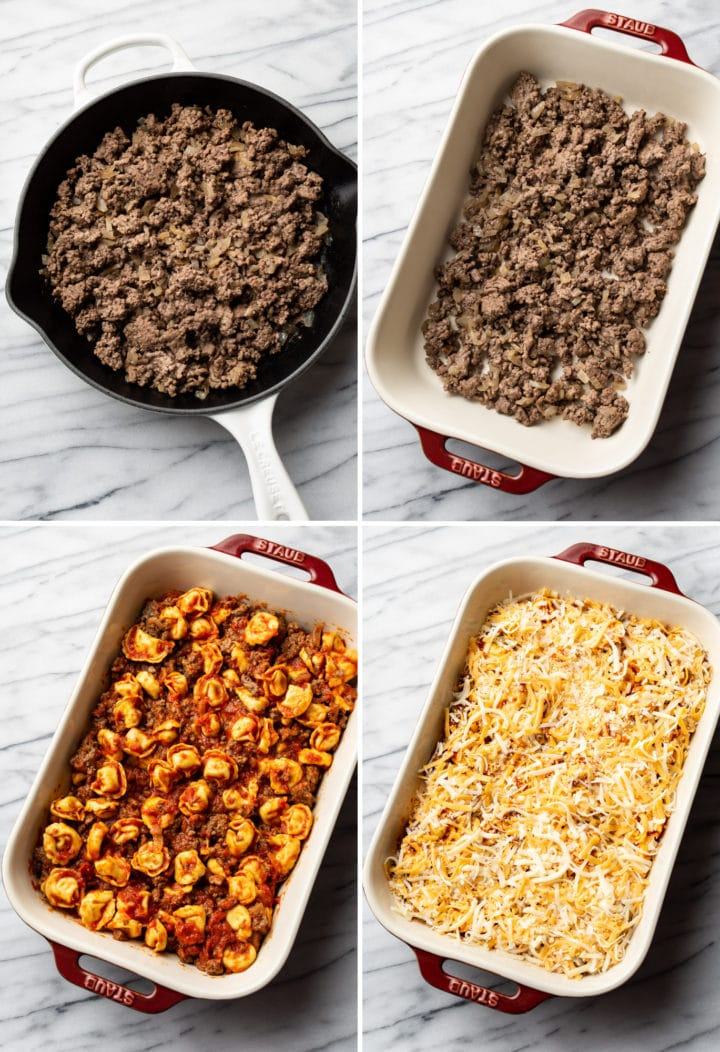 baked cheese tortellini with meat sauce process collage