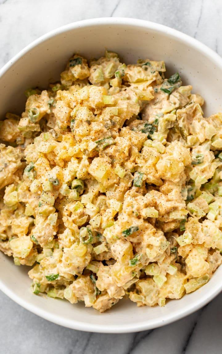 close-up of Cajun potato salad in a serving bowl