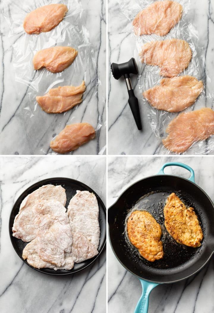chicken scallopini process collage