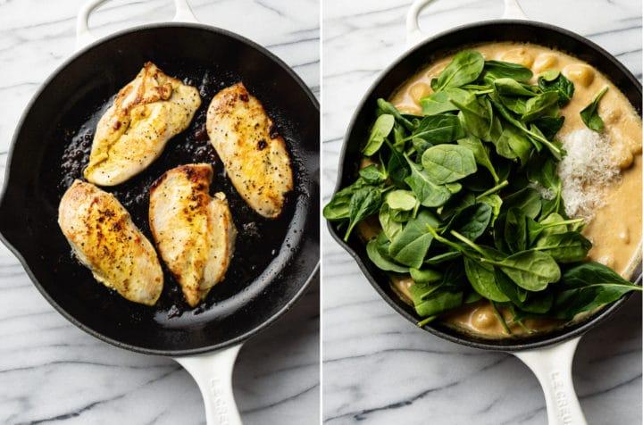 lemon chicken gnocchi process photo collage