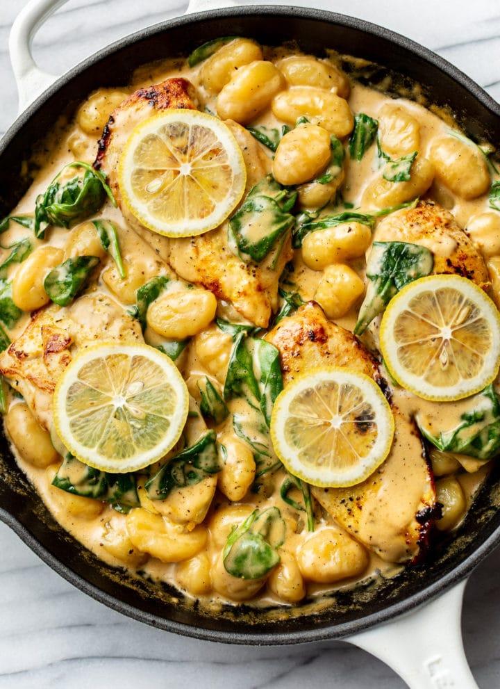 the best creamy chicken gnocchi in a skillet
