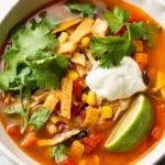 close-up of Mexican chicken soup