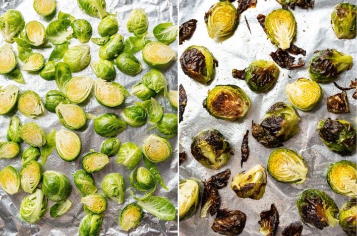 roasted brussels sprouts collage (on baking sheet before and after roasting)