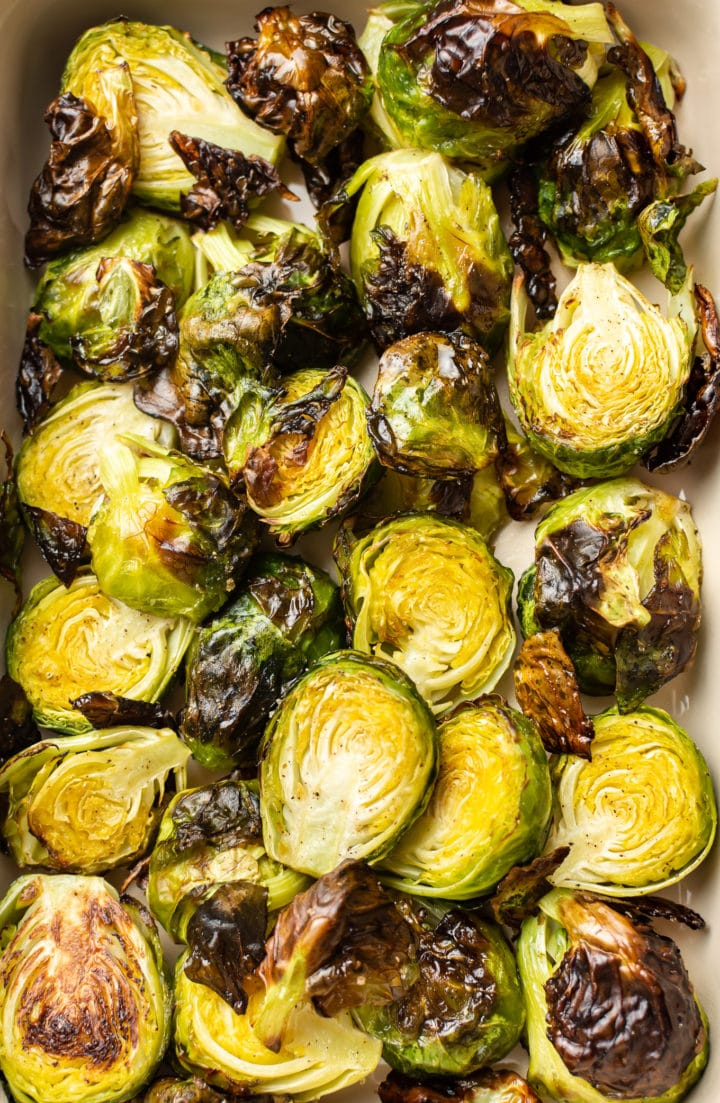 close-up of easy oven roasted brussels sprouts