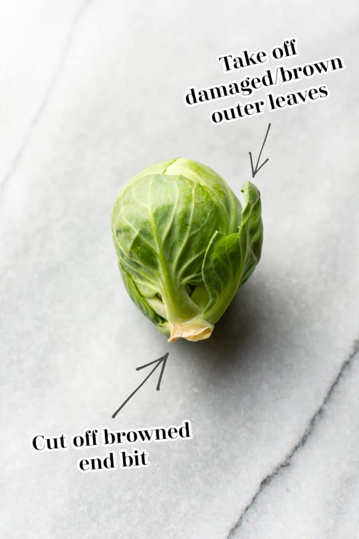 infographic on how to trim brussels sprouts