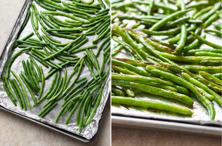 oven roasted green beans collage (on baking sheet before and after roasting)