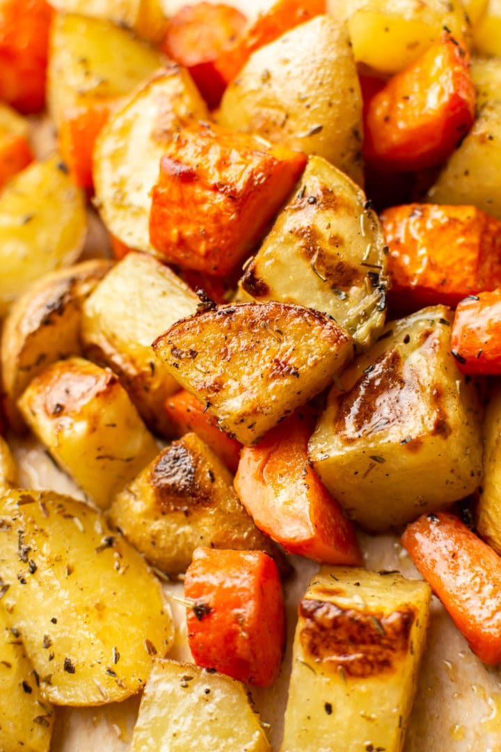 close-up of roasted potatoes and carrots
