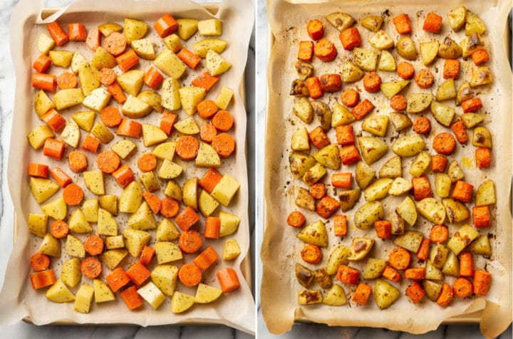 collage of oven roasted potatoes and carrots (on baking sheet before and after roasting)