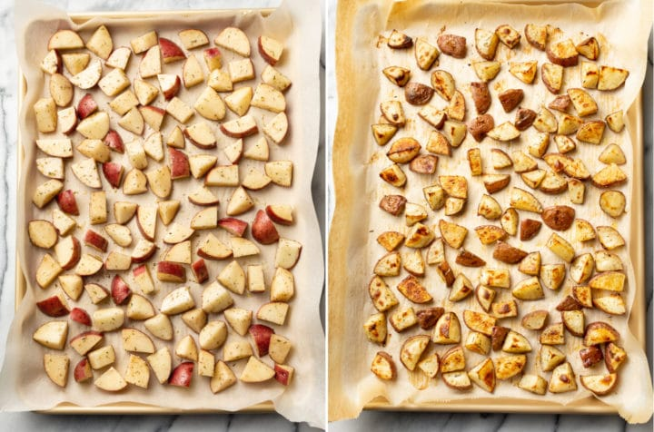 roasted red potatoes collage (potatoes cut up on baking sheet before and after they're cooked)